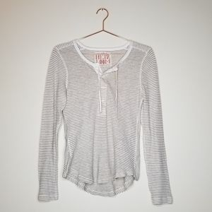 Free People Heir Loom》Off White Popover Henley